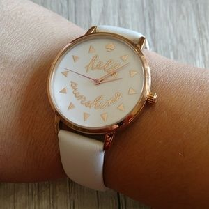 Kate Spade Hello Sunshine White Leather Watch